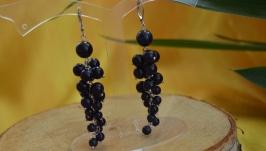 Серьги-грозди с авантюрином ′Черная смородина′