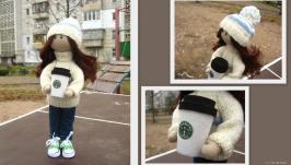 Любительница кофе, портретная кукла