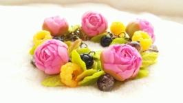 браслет розовые пионы