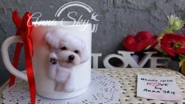 Чашка с лепкой собаки
