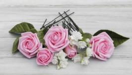 Шпильки с цветами Poзы и гипсофила
