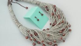 Набор украшений из натурального итальянского льна и бусинок цвета шокола