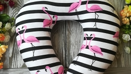 Автомобильная подушка розовый фламинго 2 , 41 см * 34 см
