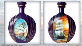Сувенирная бутылка «Парусник на закате» Подарок морской тематики для моряка