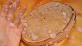 Свадебная веточка, ободок из розового кварца ′Розовые бутоны′