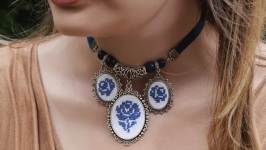 Синее колье ожерелье под шею с подвесками, лазурит
