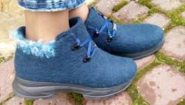 Эко кроссовки из шерсти синие