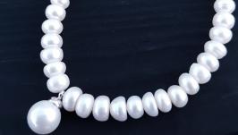 Браслет з науральних перлів з підвіскою Майорка