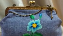 Сумочка Клематис-ручная вышивка