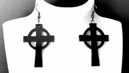 Серьги черные ′ Kельтский крест ′