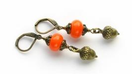 Серьги ′Желуди′ оранжевые
