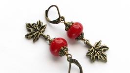 Серьги ′Кленовые листья′ красные