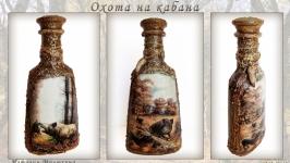 Декор бутылки Охота на кабана Подарок мужчине охотнику
