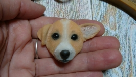 Брошь собачка из полимерной глины