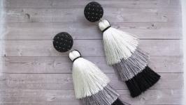 Серьги-кисти ′Black and White′