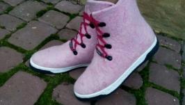 Сапожки из шерсти розовые
