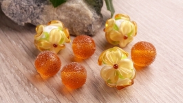 Бусины ′Цветы и сахар топаз′ лэмпворк стекло