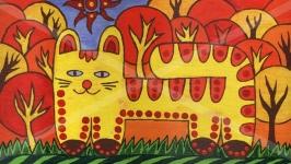 Кот на траве. Энергетическая позитивная живопись от автора.