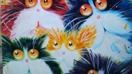 Картина олією ′Котяча сімейка′