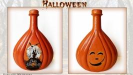 Декор бутылки «Happy Halloween» Тыква на Хэллоуин