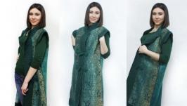 Пальто- жилет ′Малахитовая шкатулка′ - авторский войлок