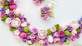 Колье и серьги с цветами