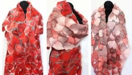 шарф ′Сердечный′ - авторский войлок, нуновойлок