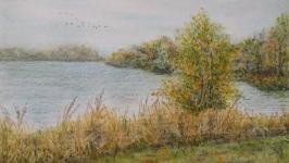 Картина ′Осеннее озеро′, графика