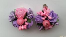 Заколка для волос с розовыми и фиолетовыми розами