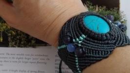Плетеный браслет с бирюзой