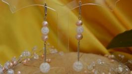 Серьги с розовым жемчугом и снежным кварцем ′Каприз′