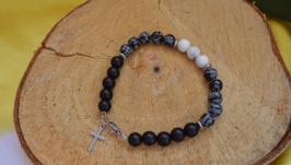 Мужской браслет с обсидианом, магнезитом и шунгитом с крестом  ′Меркурий′