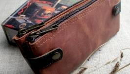 Кожаный клатч кошелек