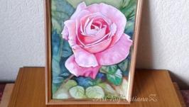 Картина ′Роза′ акварель гуашь