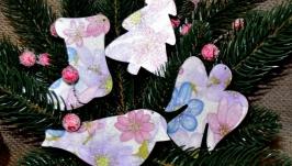Ялинкові прикраси з дерева ′Квіткова мелодія′