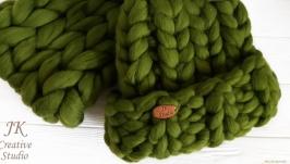 Комплект шапка и снуд из толстой мериносовой шерсти