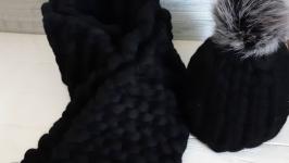 Комплект шапка и шарф из толстой мериносовой шерсти