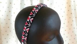 Обруч для волосся, український одяг, подарунок дівчині, в′язаний обід тіара