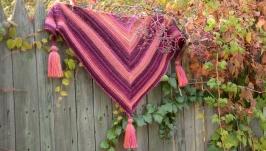 Вязаный бактус Осенний багрянец, вязаная шаль