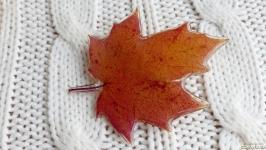 Брошь из осеннего листика