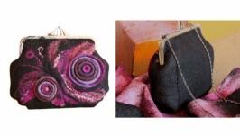 ′Вечерний мотылек′ - сумка - авторский войлок