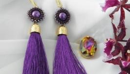 Серьги-кисти ′Пурпурное солнце′