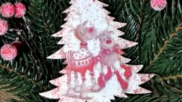 Ялинкові прикраси з дерева ′Новорічні олені 2′