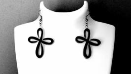 Серьги черные ′′Cross-flower ′