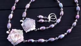 Сет з трьох прикрас натуральні перли та перламутр різблений