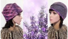 ′Diagonal′ шапочка бини - авторский войлок
