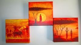 Триптих Африканский закат, интерьерная модульная картина, панно на холсте.