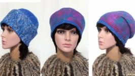 ′Изморозь или Северное сияние′ шапочка бини - авторский войлок