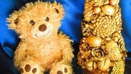 Золотая новогодняя(рождественская) елочка,экологические природные материалы