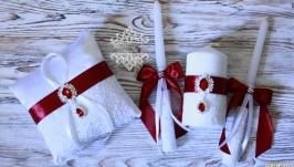 Свадебный набор свечей и подушечка